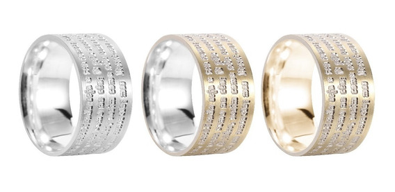 4 Aneis Pai Nosso Prata 950 Com Ouro 10k Garantia Eterna