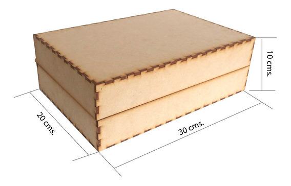 Caja Mdf 30 X 20 X 10 Baul Cuadrado Recuerdito Alhajero