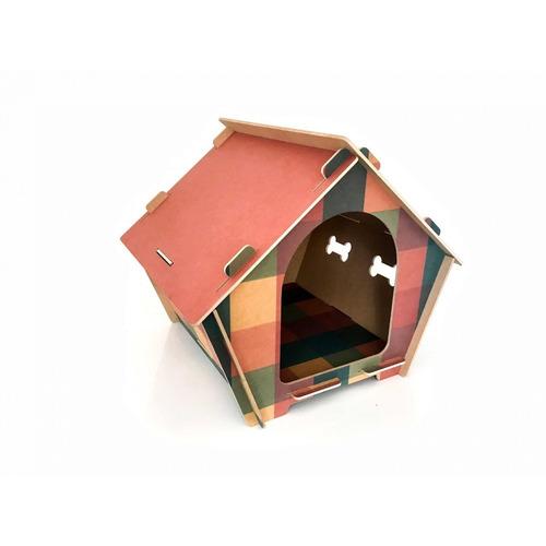 Casa Mdf Impresso 2g Xadrez C/ Teto Rosa