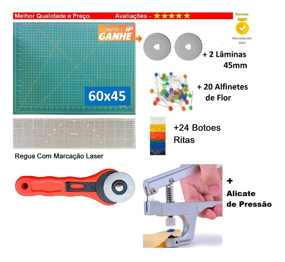 Base 60x45 A2 +régua 60 + Cort.+ Alicate Patchwork,scrapbook
