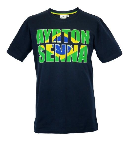 Camiseta Original Ayrton Senna Bandeira Brasil Azul Oficial