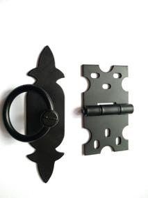 Puxador Rustico + Dobradiças Rustica Na Cor Preto Kit 12 Pcs