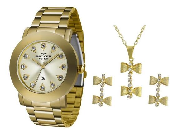 Relógio Backer Feminino 120290043f Ch Dourado + Semijóia