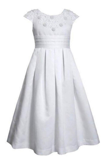 Vestido Ropon Confirmacion Comunion Niña Jovencita Blanco