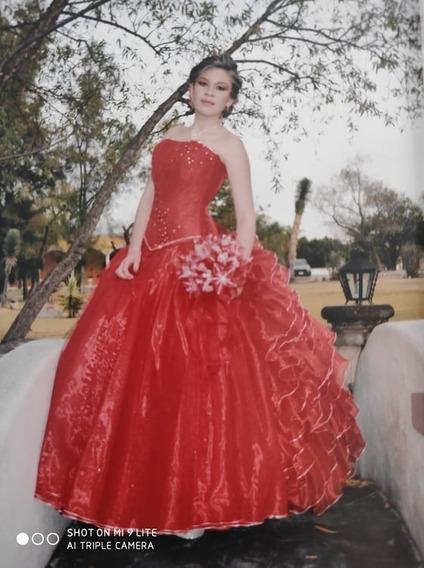 Vestido De Xv Años, Color Rojo