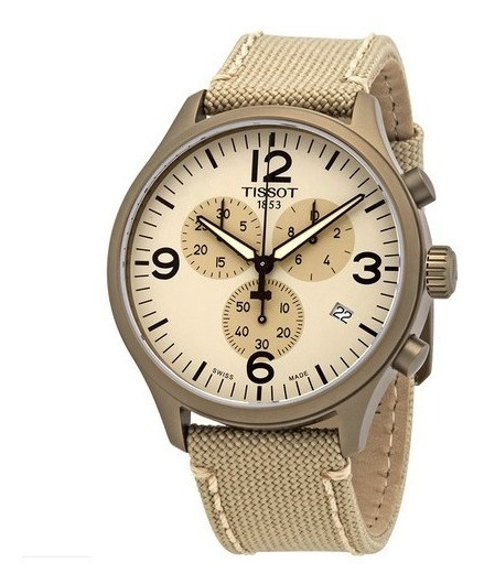 Relógio Tissot Xl Cronógrafo Bege/nylon Suíço Masculino 45