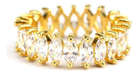 Anel Aliança Dourada Navete Zircônia Branca - An030091