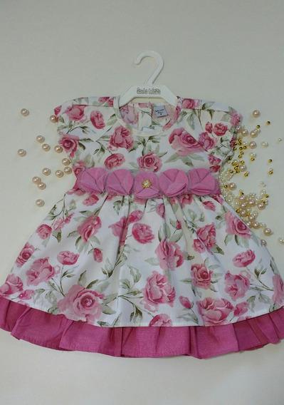 Vestido Princesa Rodado Floral Com Rosa Sonho Mágico