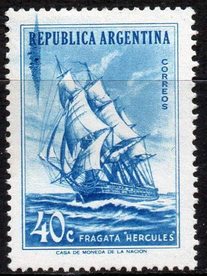 Argentina 1957. 40c Fragata Hércules Con Mancha Azul, Nuevo