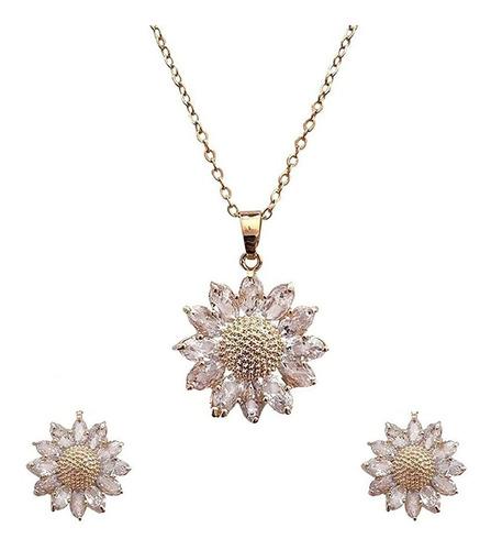 Imagen 1 de 6 de Kit Collar De Girasol Oro 18k Aretes Cadena Diamantada Mujer