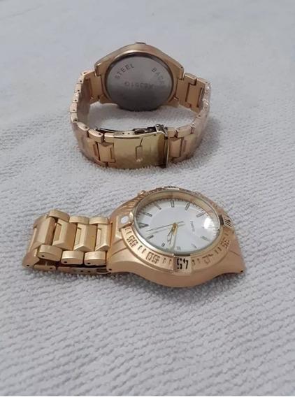 Barato Promoção Relógio Masculino Novo Dourado 2 Unidade
