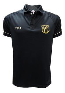 Camisa Masculina Ceará Polo Preta Com Viés Dourado
