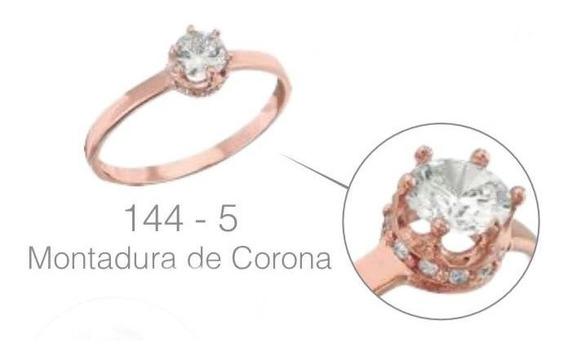 Anillo Compromiso Oro Rosa Montadura Corona 10 K + Obsequio