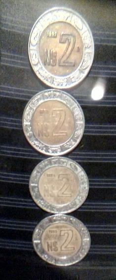 Monedas N$2 Pesos Años 1992,1993,1994 Y 1995