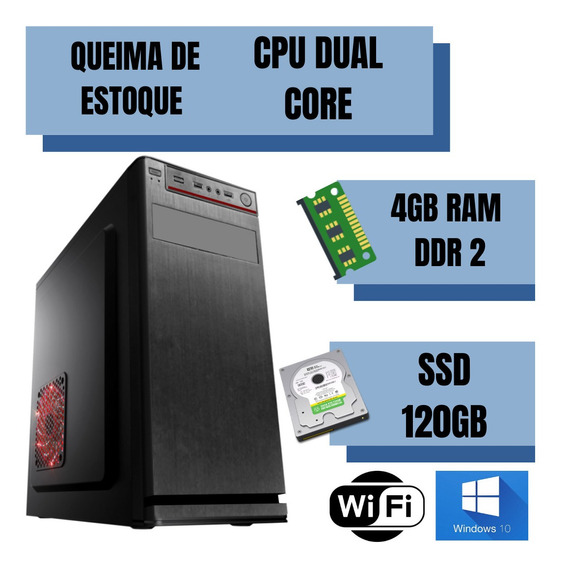 Cpu Dual Core 4gb Ssd 120gb Windows 10 Frete Gratis Nova