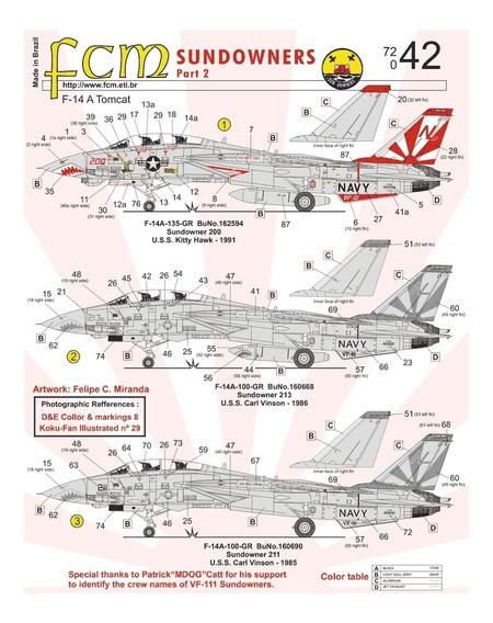 Decal F-14 A Tomcat Sundowners (part 2) 1:72 Fcm Fcm72042