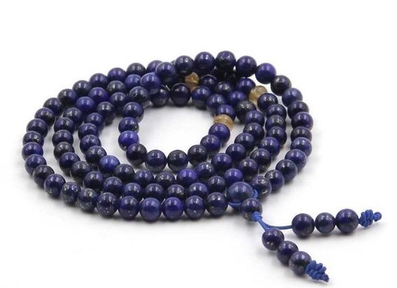 Collar Pulsera Piedra Preciosa De 6mm Azul Lapislázuli