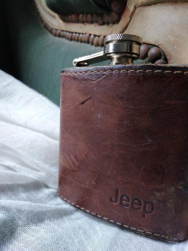 Petaca Jeep Whisky Cuero Acero Completa Funcionando