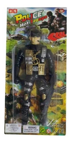 Imagem 1 de 1 de Boneco Soldado Articulado Militar Policial Com Arminha.