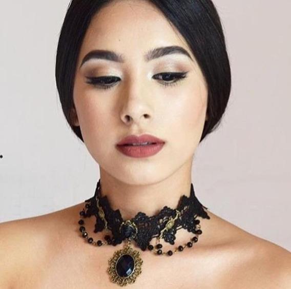 Chokers Collar De Moda Encaje Con Piedra