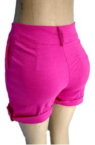 Bermuda Feminina Confortavel Bengaline Bolso Preto Plus Size