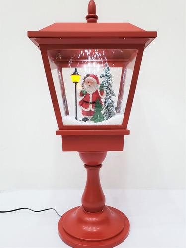 Imagen 1 de 3 de Farol Navideño Rojo Santa Claus Con Base Y Luz Led