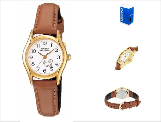 Reloj Casio Ltp1094 7b7 Mujer Correa Piel Marrón