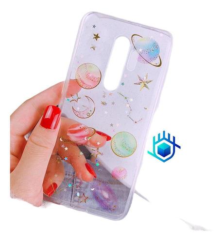Case Galaxia Motorola Universo Estrella Mujer Hombre Glitter
