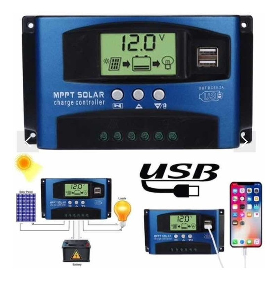 Controlador Solar Mppt 100ah 12/24v 1200w