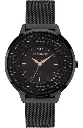 Relógio Feminino Technos Elegance Crystal 2035mlf/1p Negro
