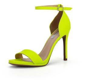Sandália Neon Amarelo De Salto Fino Alto - New Elegance