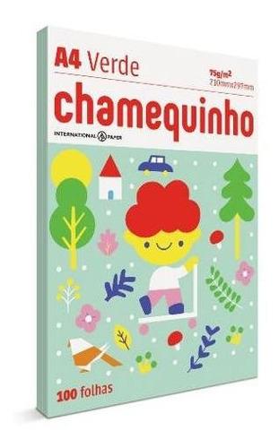 Papel A4 Chamequinho Verde 75grs 210x29mm Pct 100fls