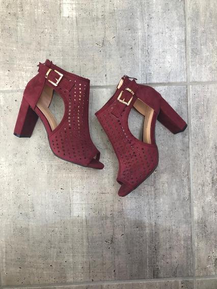 Zapato Tipo Botin Abierto En 4 Tonos