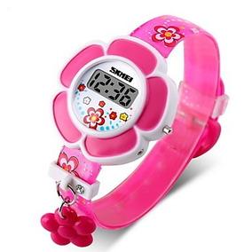 Relógio De Borracha Infantil Flor. Cor: Rosa