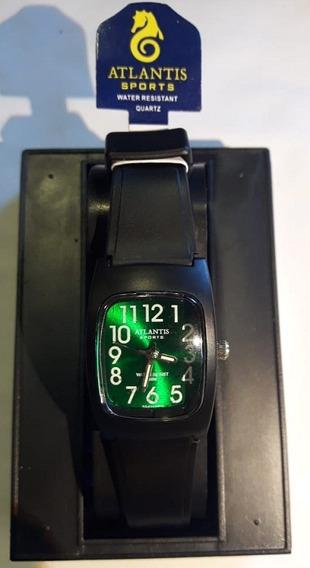 Relógio Atlantis 5541w Preto Fundo Verde Feminino Envio Já