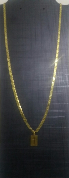 Corrente Masculina Piastrine Banhada A Ouro 18 K 70 Centímet