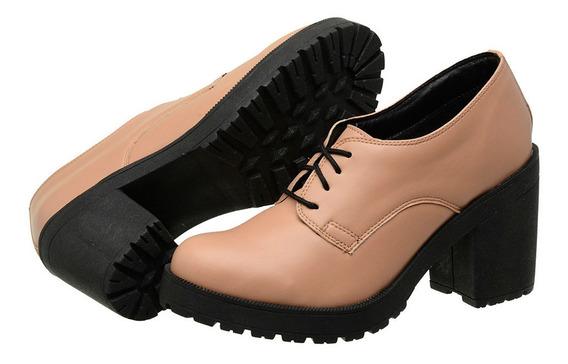 Sapato Oxford Feminino Tratorado Salto Verniz Estilo Vizzano