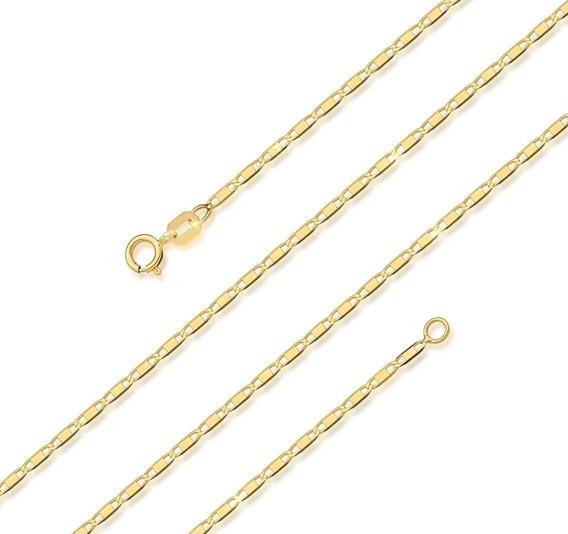 Gargantilha Feminina Corrente Piastrine 45cm Ouro 18k 750