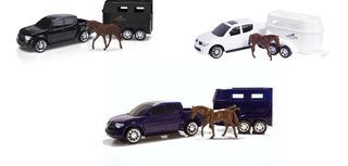 Carrinho Pick-up Rx L200 Haras Com Cavalo Roma Brinquedos