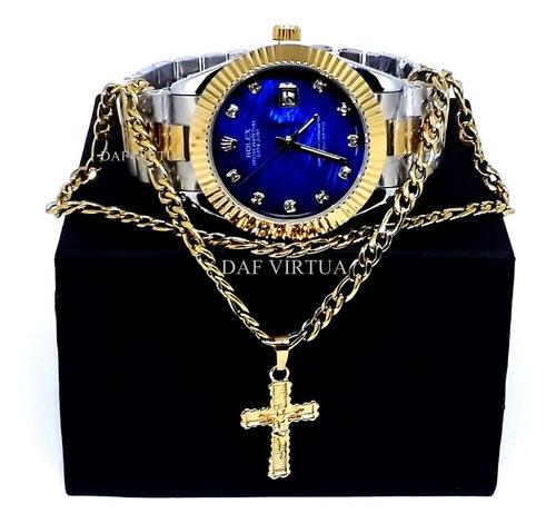 Relógio Dourado Prata Rose + Corrente Banhada + Cruz + Caixa