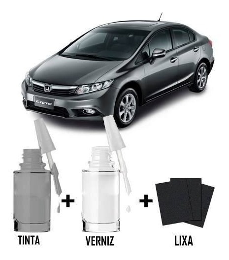 Tinta Tira Risco Automotivo Honda Civic Cor Cinza Iridium