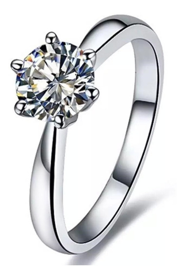 Anillo De Compromiso Plata 925 Y Oro 14k Diamante Swarovski