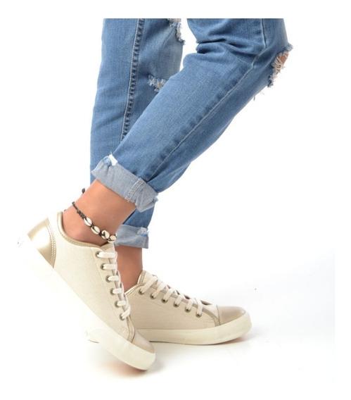 Zapatillas Lona Y Cuero Eco Diseño Mujer Dama Moda 2019