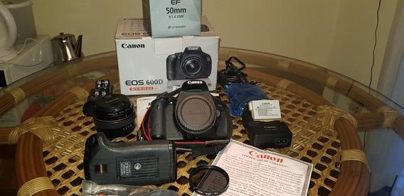 Canon 600d + Lente 50mm F/1.4 + Grip + 2 Cards Pro + Filtro