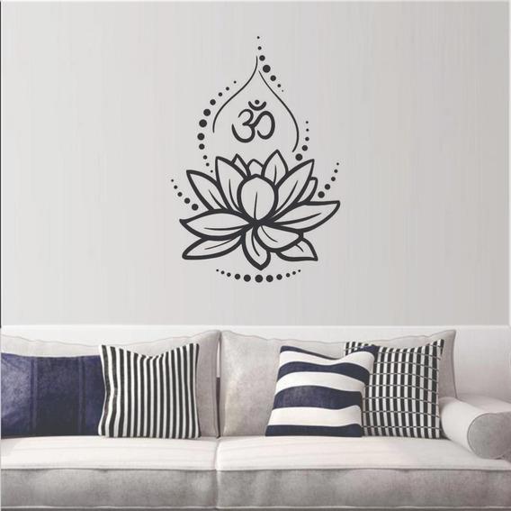 Adesivo Decorativo De Parede Flor De Lótus Om 55x80 Cm