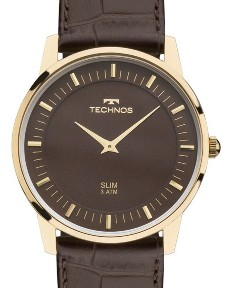 Relógio Technos Masculino Slim Couro - Gl20hj/2m