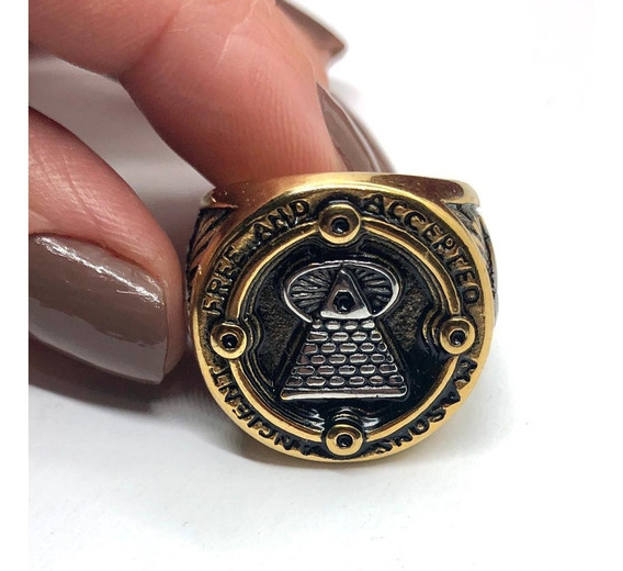 Anel Maçon Ancient Free Accepted Masons Piramide Aço Olho