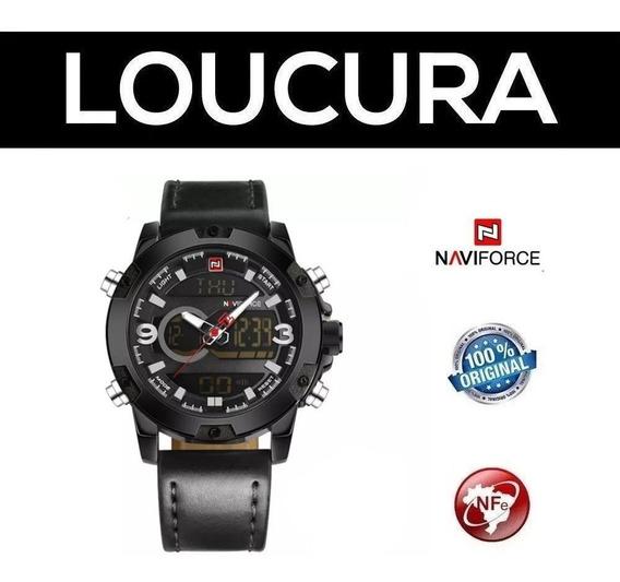 Relógio Naviforce Couro Social Com Nota Fiscal Original