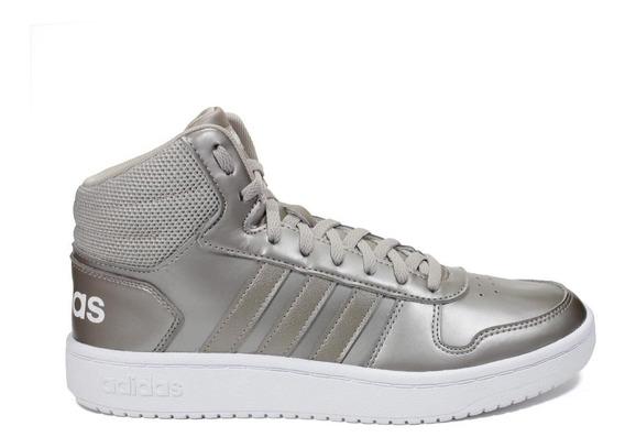 Tênis adidas Hoops 2.0 Mid Unissex - Prata/branco F34807
