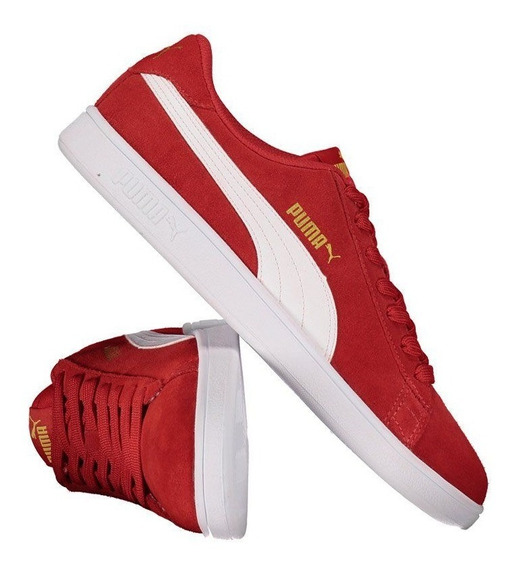 Tênis Puma Smash V2 Vermelho E Dourado